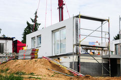 Assembly of prefabricated house Royalty Free Stock Photography