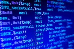 Assembly programming language code. In monitor stock photo