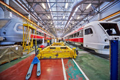 Assembly of rail buses in shop floor Royalty Free Stock Images
