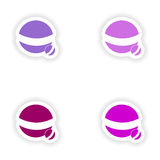 Assembly realistic sticker design on paper ball Royalty Free Stock Photography