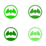 Assembly realistic sticker design on paper bat Royalty Free Stock Images
