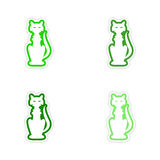 Assembly realistic sticker design on paper cat Stock Image