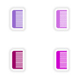 Assembly realistic sticker design on paper comb Stock Photography
