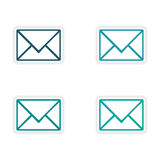 Assembly realistic sticker design on paper email Royalty Free Stock Images