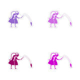 Assembly realistic sticker design on paper friend Stock Photo