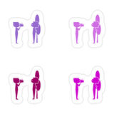 Assembly realistic sticker design on paper friends Stock Photo