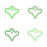 Assembly realistic sticker design on paper ghost Royalty Free Stock Images