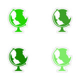 Assembly realistic sticker design on paper globe Royalty Free Stock Photos
