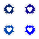 Assembly realistic sticker design on paper heart Stock Photo
