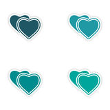 Assembly realistic sticker design on paper hearts Stock Photos