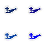 Assembly realistic sticker design on paper logo Royalty Free Stock Photos