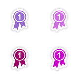 Assembly realistic sticker design on paper medal Royalty Free Stock Photo