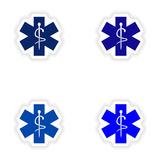 Assembly realistic sticker design on paper medical Royalty Free Stock Photos