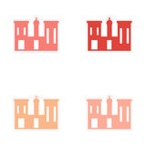Assembly realistic sticker design on paper palaces Royalty Free Stock Images