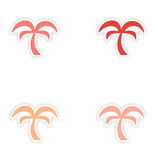 Assembly realistic sticker design on paper palms Stock Images