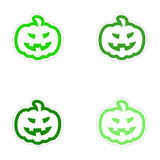Assembly realistic sticker design on paper pumpkin Royalty Free Stock Images