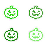 Assembly realistic sticker design on paper pumpkin Royalty Free Stock Photos