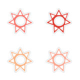 Assembly realistic sticker design on paper sun Royalty Free Stock Photos