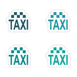Assembly realistic sticker design on paper taxi Stock Images
