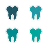 Assembly realistic sticker design on paper teeth Royalty Free Stock Photos