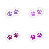 Assembly realistic sticker design on paper traces Royalty Free Stock Photo
