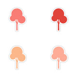 Assembly realistic sticker design on paper tree Stock Images