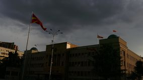 Assembly of the Republic of Macedonia at sunset stock video footage