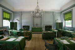 The Assembly Room. Where Declaration of Independence and U.S. Constitution were signed in Independence Hall, Philadelphia, Pennsylvania Royalty Free Stock Photography