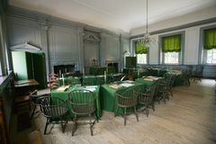 The Assembly Room where Declaration of Independence and U.S. Constitution were signed in Independence Hall, Philadelphia, Pennsylv Royalty Free Stock Photo