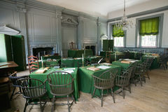 The Assembly Room where Declaration of Independence and U.S. Constitution were signed in Independence Hall, Philadelphia, Pennsylv Stock Images