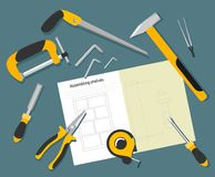 Assembly of shelves with an assembly plan and tools, a top view in the style of flat. vector illustration