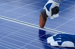 Assembly of solar panels Royalty Free Stock Images