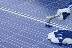 Assembly of solar panels Royalty Free Stock Image