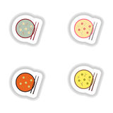 Assembly stickers on white miso soup and sticks Stock Photo