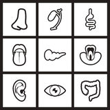 Assembly stylish  black and white icons human Stock Images