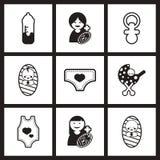 Assembly stylish  black and white icons motherhood Royalty Free Stock Photography