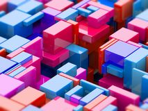 Assembly of turquoise, red, blue and pink plastic cubes stock photo