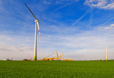 Assembly of a windmill in Germany; Royalty Free Stock Photography