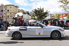 Assemblyman Edwin Chau rides in the Los Angeles Chinese New Year Parade royalty free stock photos