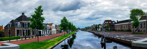 Assen canals and typical houses. Holland. Royalty Free Stock Photo