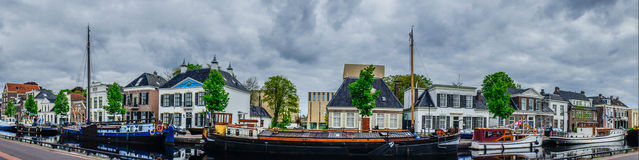 Assen canals and typical houses. Holland. Stock Image