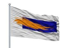 Assen City Flag On Flagpole, Países Baixos, isolados no fundo branco ilustração stock