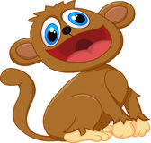 Assento bonito do macaco dos desenhos animados Fotos de Stock
