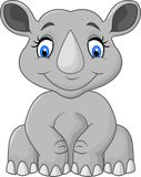 Assento bonito do rinoceronte dos desenhos animados Foto de Stock Royalty Free