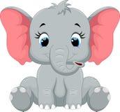 Assento bonito dos desenhos animados do elefante do bebê Imagens de Stock Royalty Free