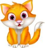 Assento bonito dos desenhos animados do gato Fotografia de Stock