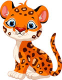 Assento bonito dos desenhos animados do leopardo do bebê Imagens de Stock