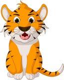 Assento bonito dos desenhos animados do tigre Fotos de Stock