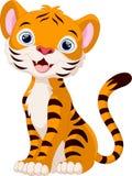 Assento bonito dos desenhos animados do tigre Fotografia de Stock Royalty Free