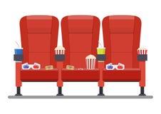 Assento confortável vermelho do cinema Imagem de Stock